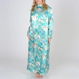 La Cera Women's Plus Size Teal Floral Print Zip-front Robe