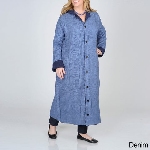La Cera Women's Plus Size Puckered Reversible Long Coat