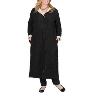 La Cera Women's Plus Size Puckered Reversible Long Coat
