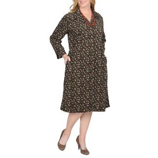 La Cera Women's Black Plus Floral Print Corduroy Dress