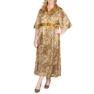 La Cera Women's Plus Size Animal Print Lounge Dress