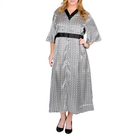 La Cera Women's Plus Geometric Print Lounger Dress