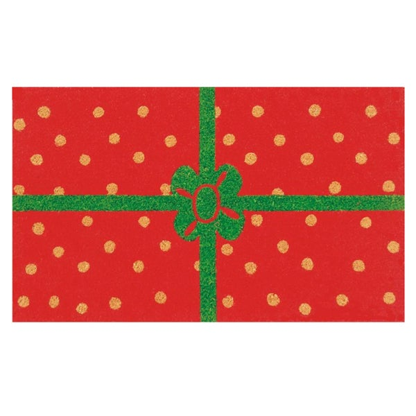 Christmas Package Red/ Green Coir Outdoor Door Mat (1'5 x 2'5). Opens flyout.