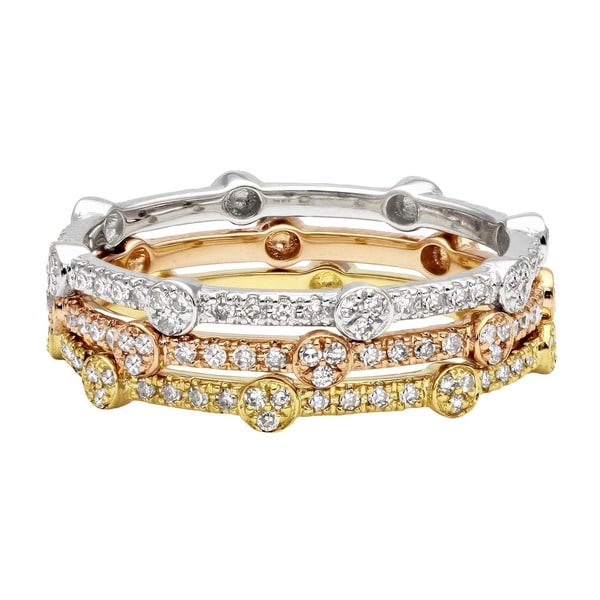 Beverly Hills Charm 10k Gold Round or Square Stackable Thin Diamond Ring