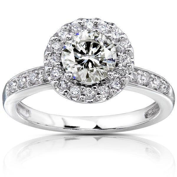 Annello by Kobelli 14k White Gold 1 1/4ct TGW Moissanite (HI) and Diamond Circle Halo Engagement Ring