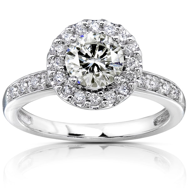 Annello by Kobelli 14k White Gold Moissanite and 1/4ct TDW Diamond Engagement Ring (G-H,