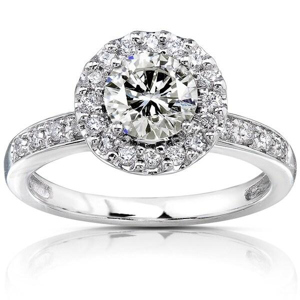 Annello by Kobelli 14k White Gold 1 1/4ct TGW Moissanite (HI) and Diamond Circle Halo Engagement Ring