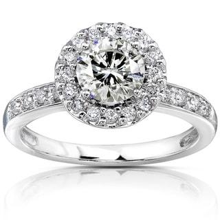 Annello by Kobelli 14k White Gold 1 1/4ct TGW Moissanite and Diamond Halo Engagement Ring (HI/VS, GH/I)