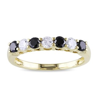 Miadora 10k Gold 3/4ct TDW Black and White Diamond Anniversary Ring