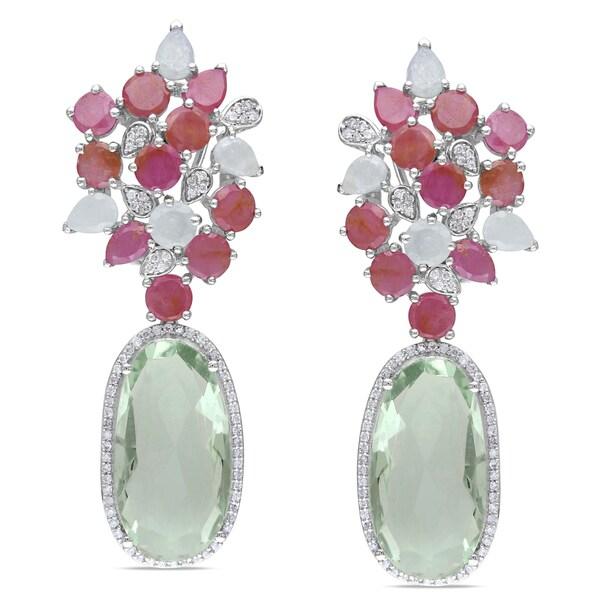 Miadora 14k White Gold Gemstone and 5/8ct TDW Diamond Earrings (G-H, SI1-SI2)
