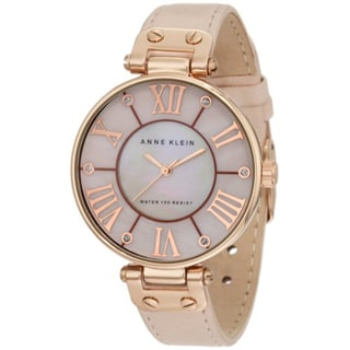Anne Klein Women's 10-9918RGLP Round Beige Leather Strap Watch