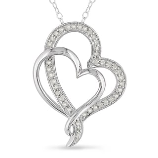 Miadora Sterling Silver 1/4ct TDW Diamond Double Heart Interlocking Necklace (H-I, I2-I3)