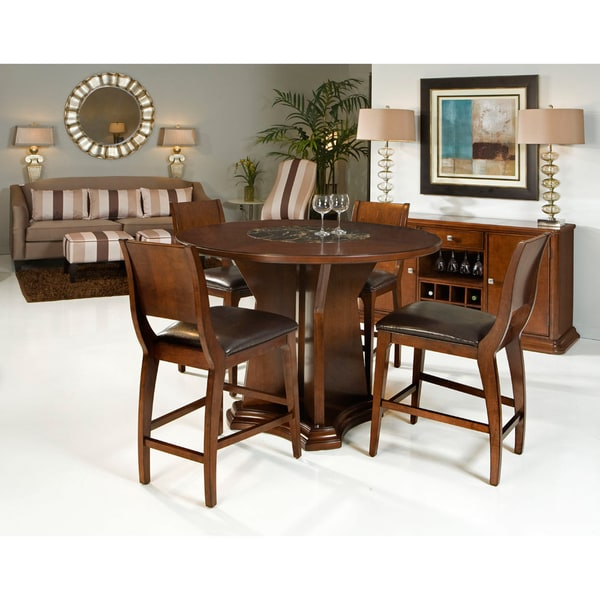 0c79458d416b49 Transitional 5-piece Round Counter-height Dining Set with Built-in Lazy  Susan