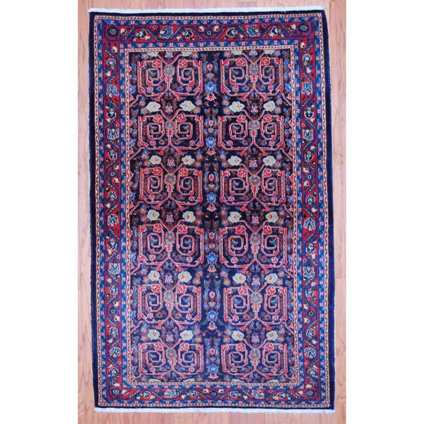 Persian Hand-knotted Tribal Sarouk Navy/ Red Wool Rug (3'4 x 5'6)