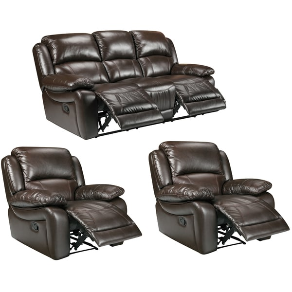 Lauren Espresso Brown Leather Reclining Sofa and Two Recliner Chairs