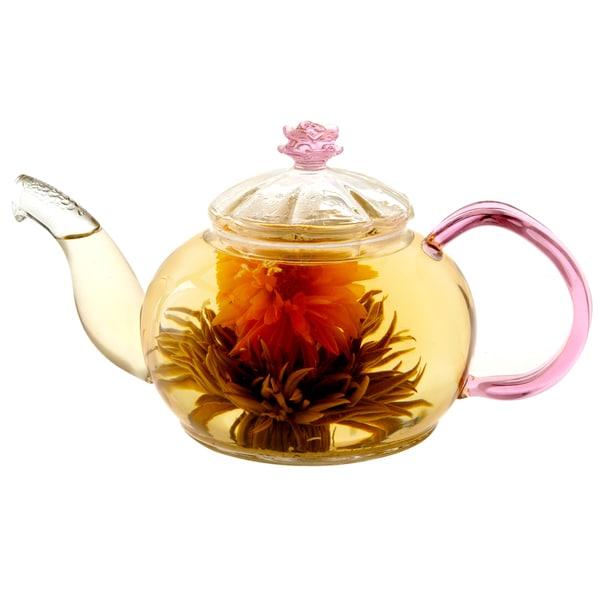 Tea Beyond Hand-Crafted 20-Ounce Rose Series Juliet Glass Teapot