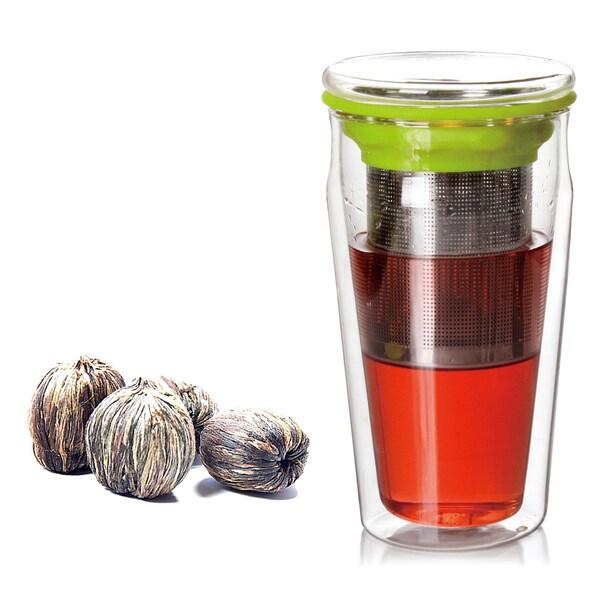 Tea Beyond Premium Double Wall Eco Tumbler Assorted Blooming Tea Gift Set