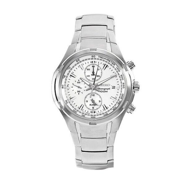SEIKO Men's Chronograph White Dial Stainless Steel Watch