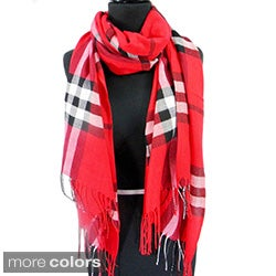 Plaid Fringed Pashmina Fashion Scarf