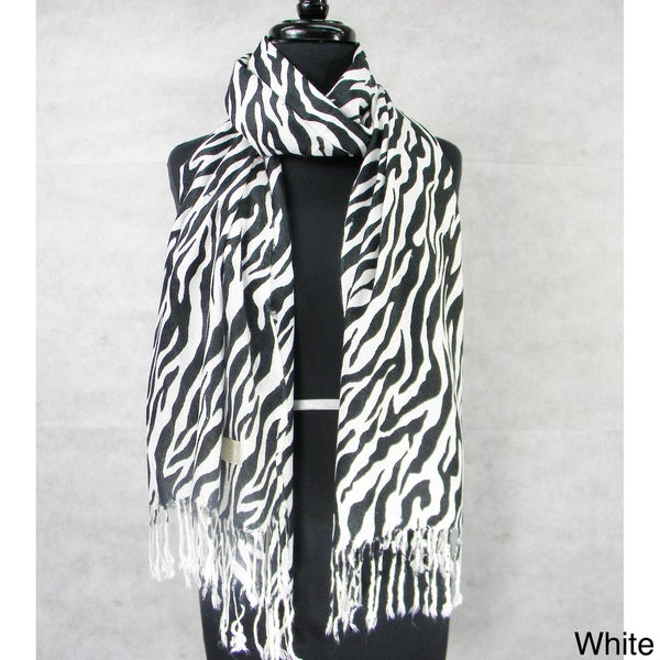 Zebra Stripe Fringed Pashmina Fashion Scarf