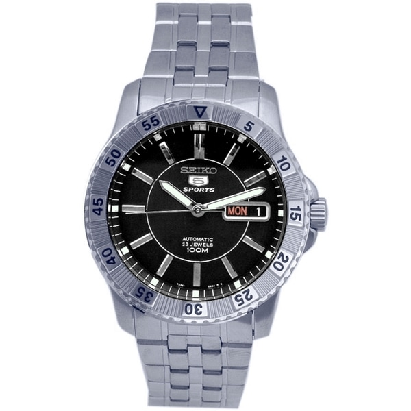 SEIKO Men's Sports Black Dial Automatic Stainless Watch