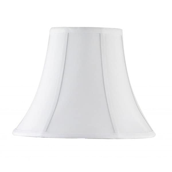 White Fabric Bell Shade with Piping