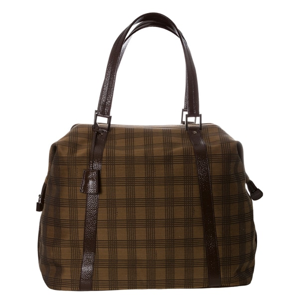 Fendi Tobacco Plaid Canvas and Leather Duffle Bag