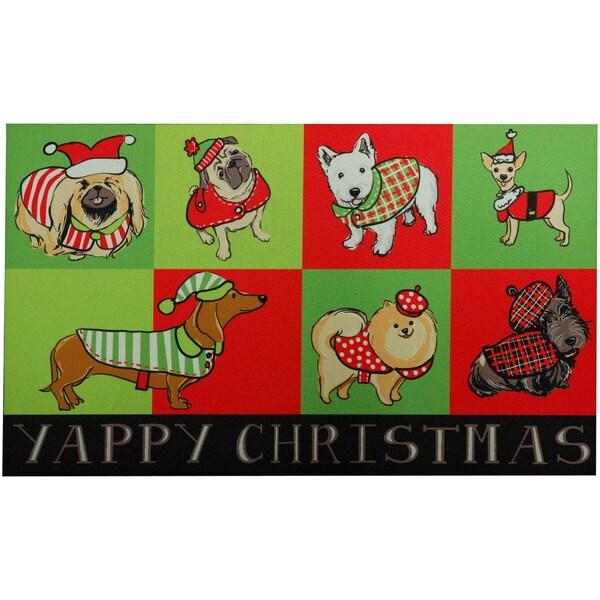 Outdoor Yappy Dog Christmas Doormat