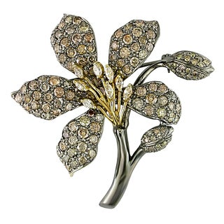 Miadora Signature Collection 18k White Gold 7 3/8ct TDW Brown Diamond Brooch