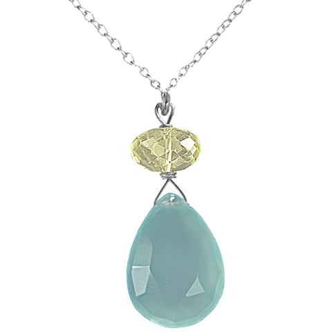 Handmade Ashanti Sterling Silver Blue Chalcedony Necklace (Sri Lanka)