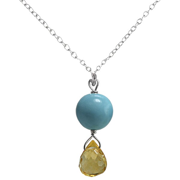 Ashanti Sterling Silver Turquoise and Citrine Necklace (Sri Lanka)