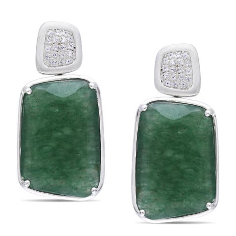 Miadora Sterling Silver Aventurine and White Sapphire Earrings