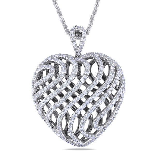 Miadora 14k Gold 2 1/2ct TDW Diamond Heart Necklace