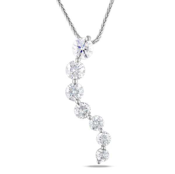 Miadora 14k White Gold 2ct TDW Diamond Journey Necklace (G-H, I1-I2)