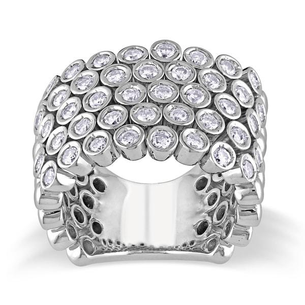 Shira Design 14k Gold 1 3/5ct TDW Bezel Set Pave Diamond Ring