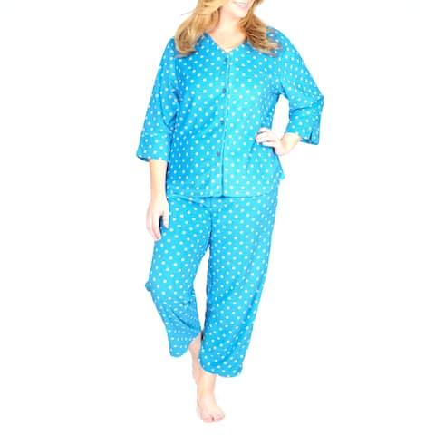 La Cera Women's Plus Polka-dot Fleece Pajama Set