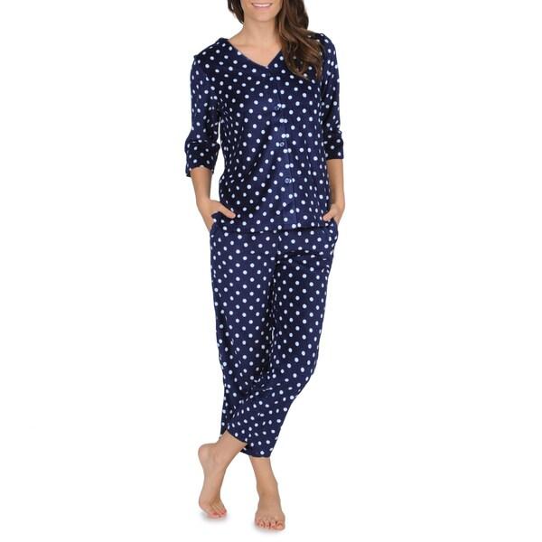 La Cera Women's Polka-dot Fleece Pajama Set