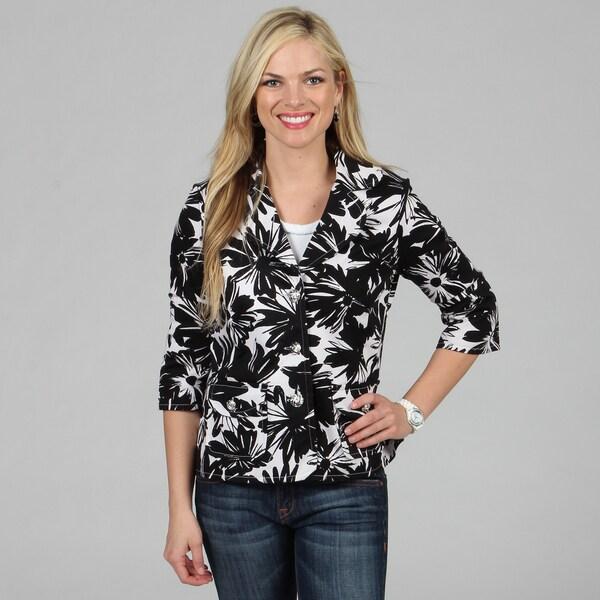 Celebrating Grace Women's Black White Floral Print Catalina Jacket