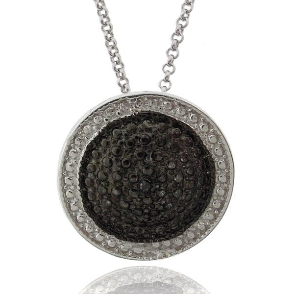 Finesque Sterling Silver Black and White Diamond Accent Circle Necklace