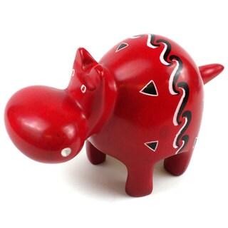 Handmade Red Soapstone Hippo (Kenya)