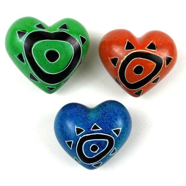 Set of 3 Handcrafted Soapstone Hearts (Kenya)