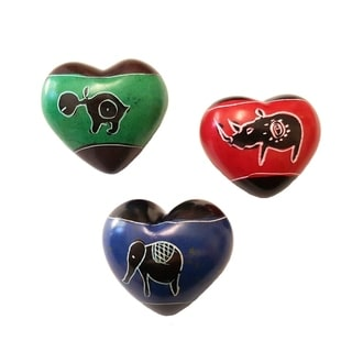 Set of 3 Handcrafted Soapstone Hearts (Kenya)