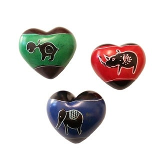 Set of 3 Handmade Soapstone Hearts (Kenya)