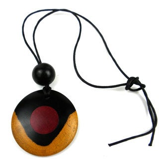 Two-Tone Ebony Disk with Inlaid Rosewood Circle Necklace (Mozambique)