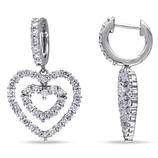 Miadora Signature Collection 14k Gold 1 4/5ct TDW Diamond Heart Earrings (G-H, SI1-SI2)