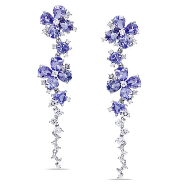 Miadora 14k Gold Tanzanite and 1ct TDW Diamond Earrings (G-H, SI1-SI2)