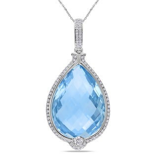 Miadora Signature Collection 14k Gold Blue Topaz and 4/5ct TDW Diamond Necklace (G-H, SI1-SI2)