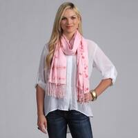 Puredot Women's Baby Pink Shawl with Pink Floral Embroidery