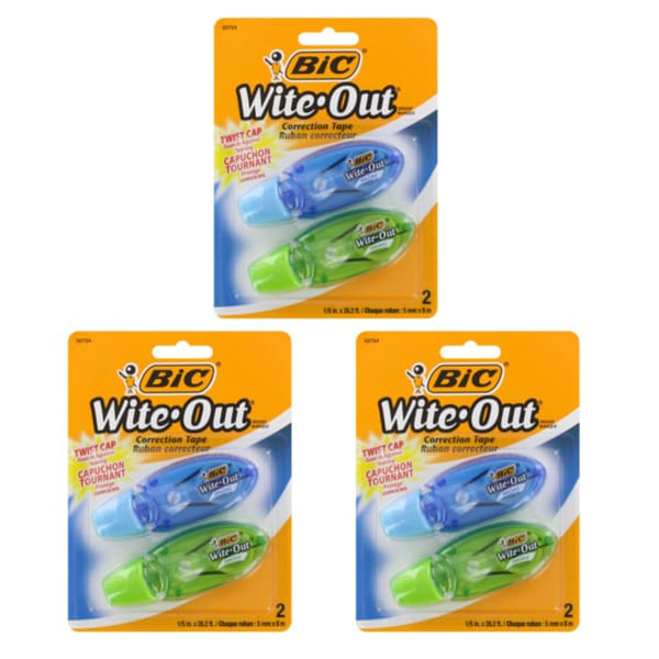 Bic Wite-Out Mini Twist White Correction Tape (Pack of 6)