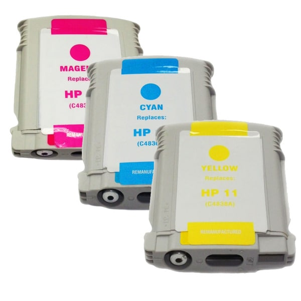 HP 11 Cyan, Magenta and Yellow Ink Cartridges (Remanufactured) (Pack of 3)
